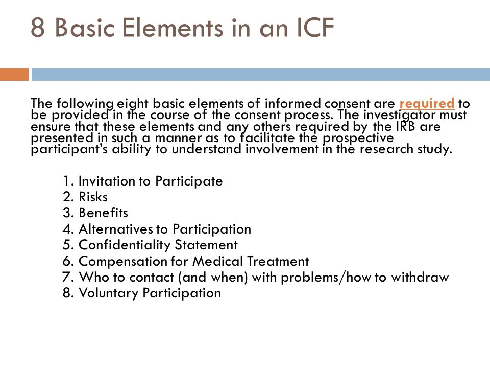 8 Basic Elements in an ICF