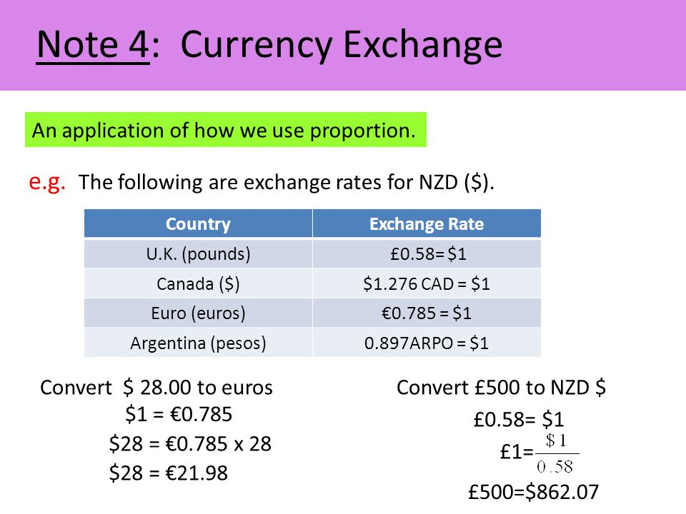 Note 4: Currency Exchange