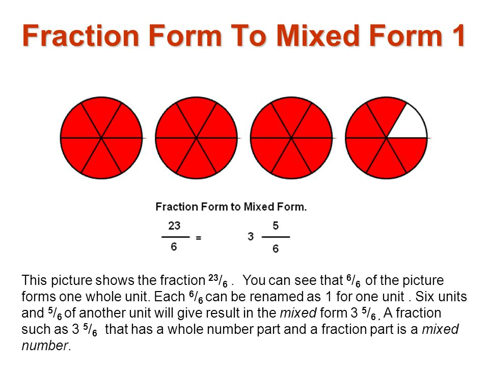 Fraction Form To Mixed Form 1