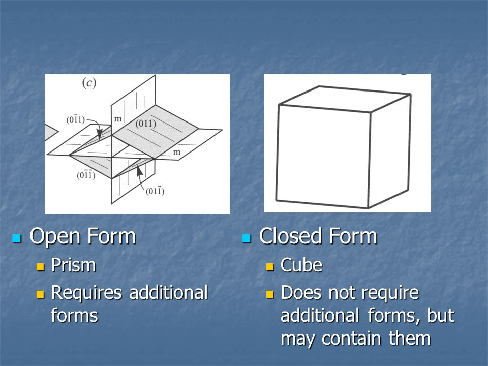 Open Form Closed Form Prism Requires additional forms Cube