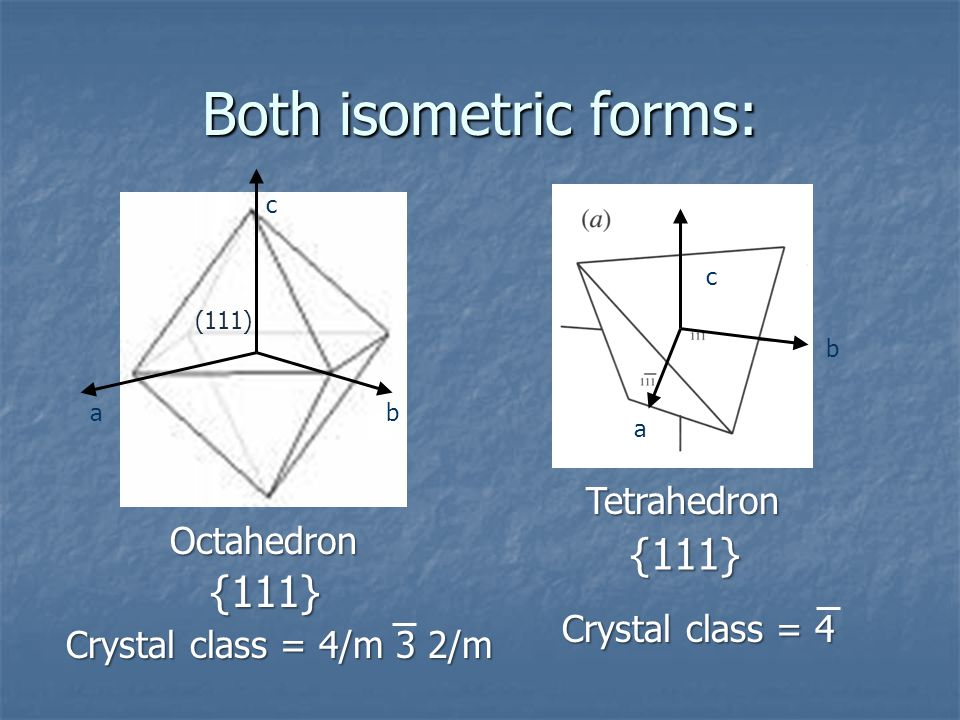 Both isometric forms: {111} {111} Tetrahedron Octahedron