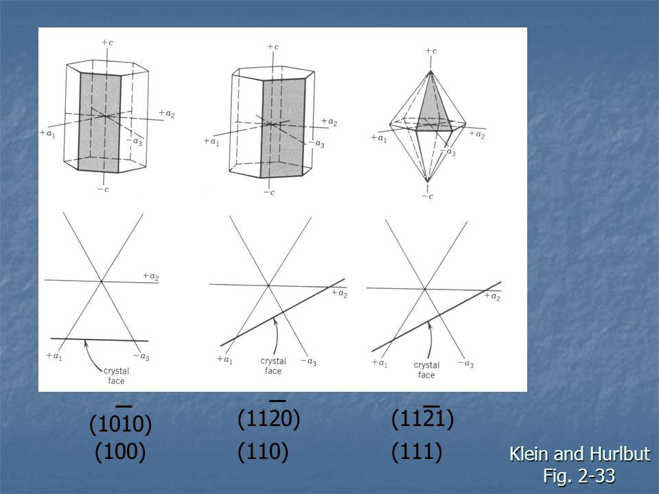(1120) (1121) (1010) (100) (110) (111) Klein and Hurlbut Fig. 2-33