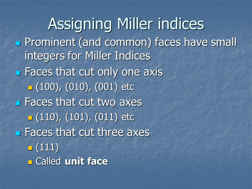 Assigning Miller indices