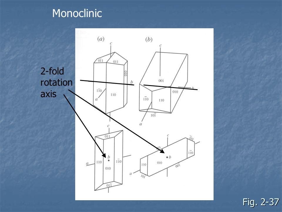 Monoclinic 2-fold rotation axis Fig. 2-37