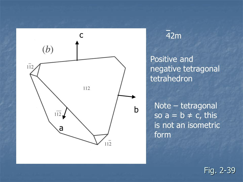 c 42m. Positive and negative tetragonal tetrahedron. Note – tetragonal so a = b ≠ c, this is not an isometric form.