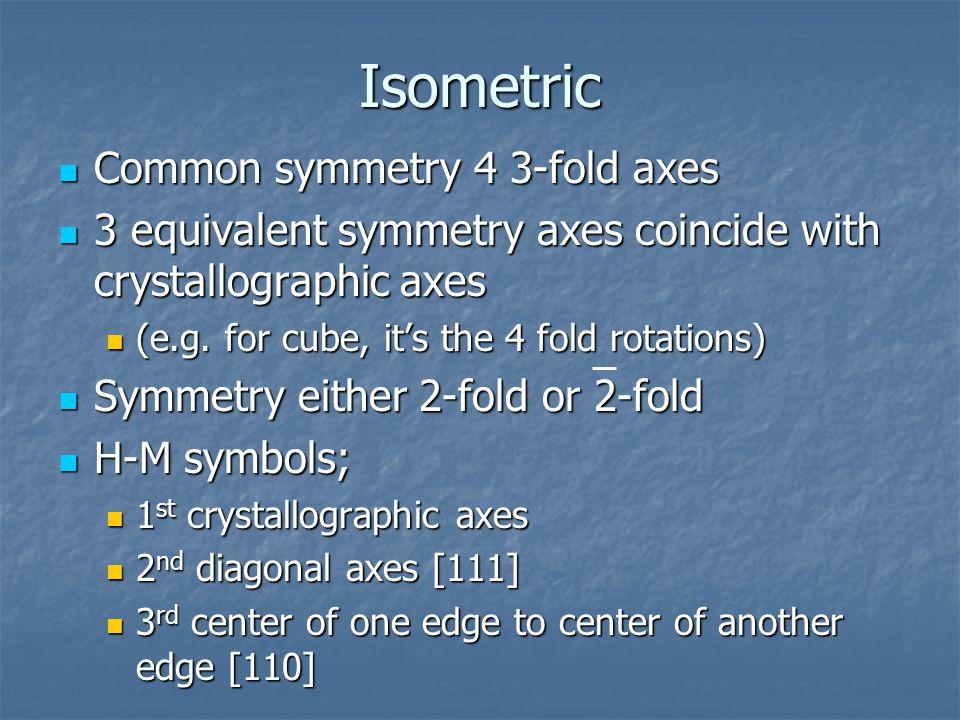Isometric Common symmetry 4 3-fold axes