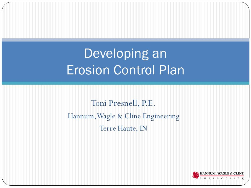 Developing an Erosion Control Plan