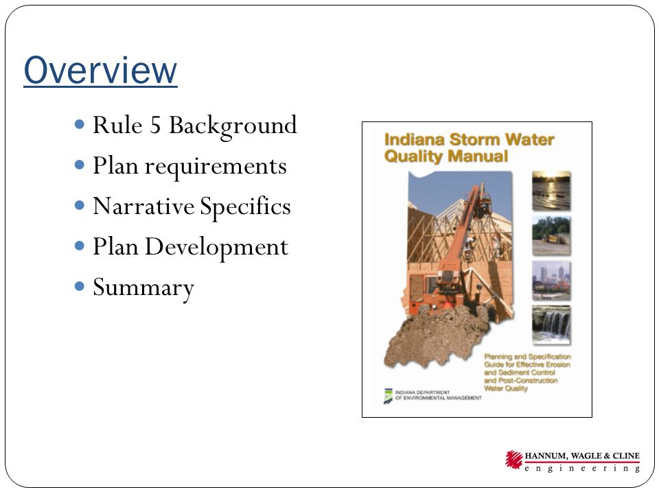 Overview Rule 5 Background Plan requirements Narrative Specifics