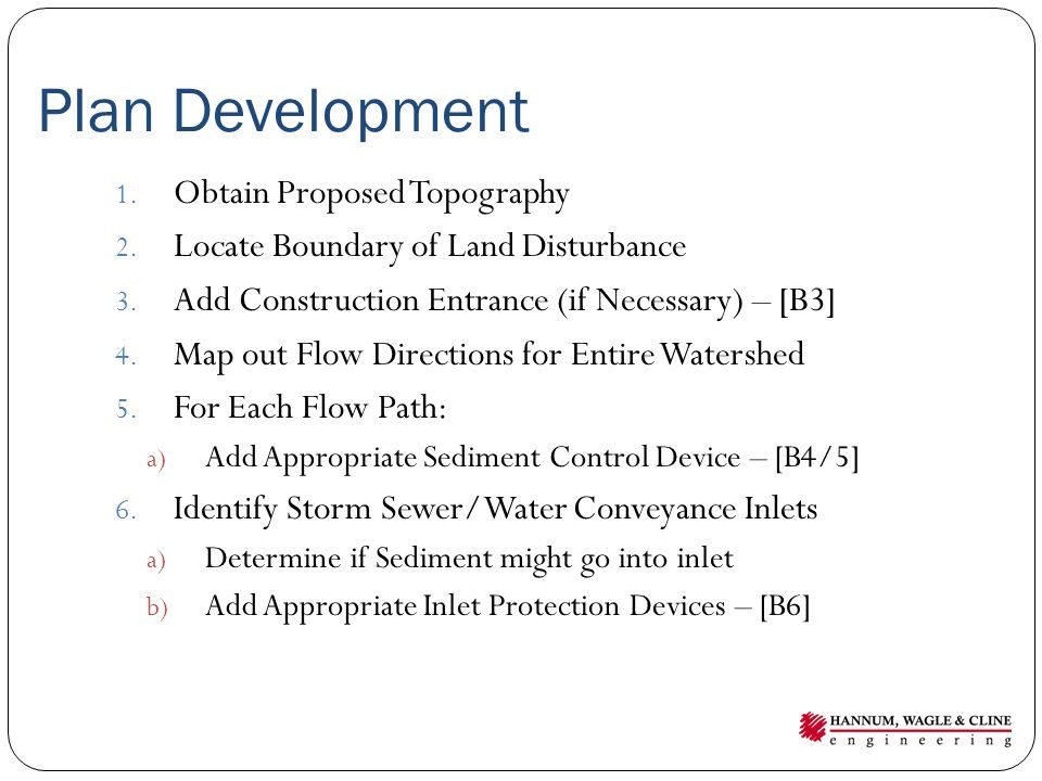Plan Development Obtain Proposed Topography