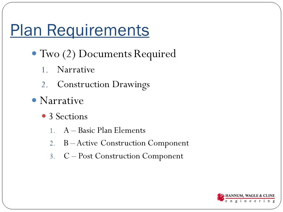 Plan Requirements Two (2) Documents Required Narrative