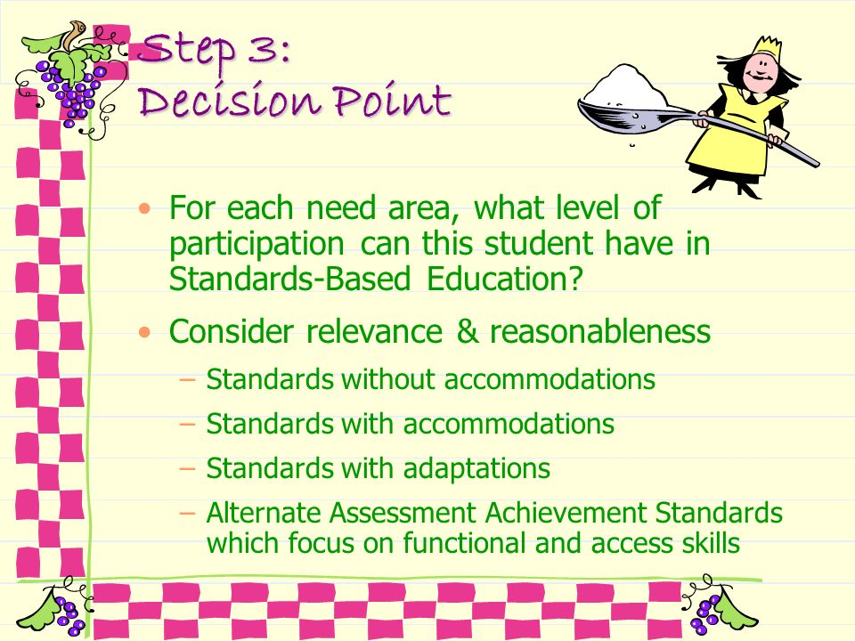 Step 3: Decision Point For each need area, what level of participation can this student have in Standards-Based Education