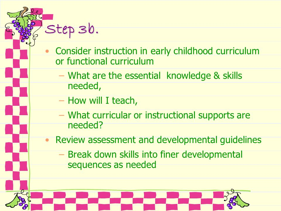 Step 3b.Consider instruction in early childhood curriculum or functional curriculum. What are the essential knowledge & skills needed,