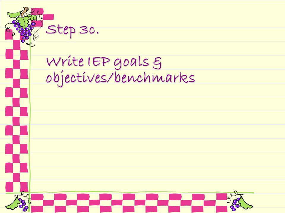 Step 3c. Write IEP goals & objectives/benchmarks