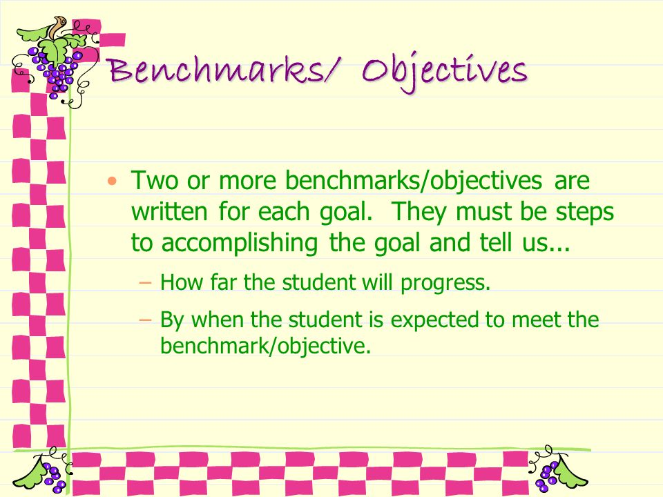 Benchmarks/ Objectives