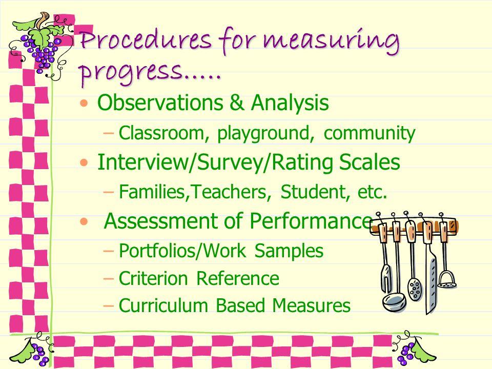 Procedures for measuring progress…..