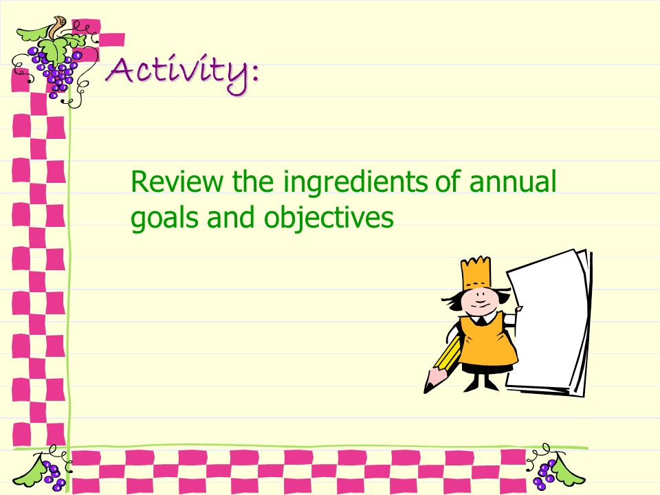 Activity: Review the ingredients of annual goals and objectives