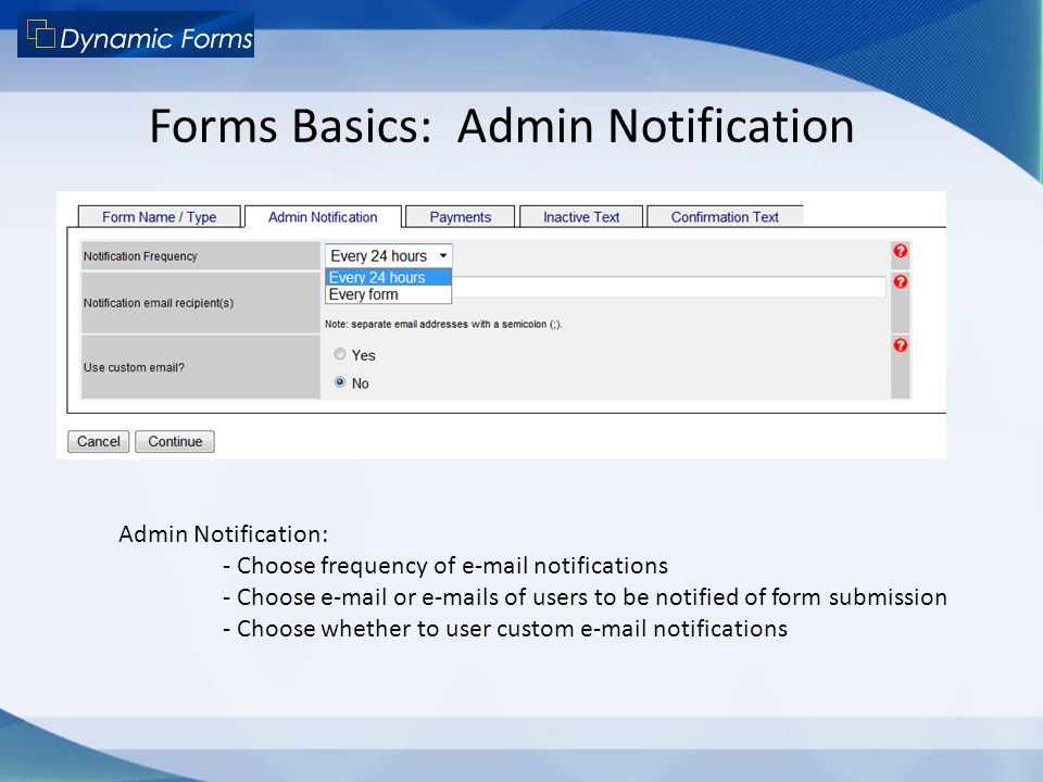 Forms Basics: Admin Notification