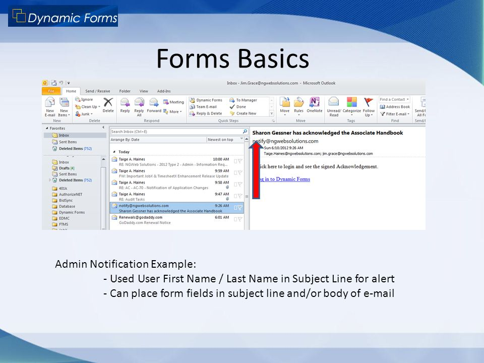 Forms Basics Admin Notification Example: