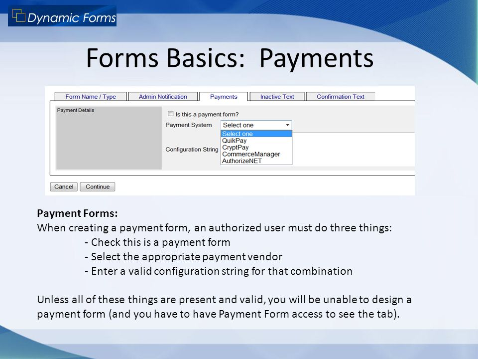 Forms Basics: Payments