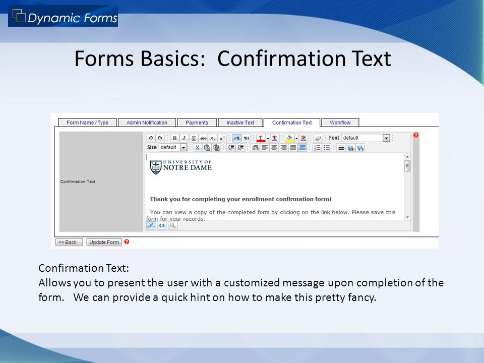 Forms Basics: Confirmation Text