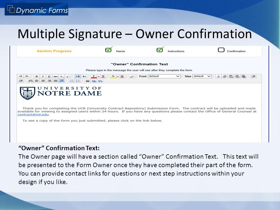 Multiple Signature – Owner Confirmation