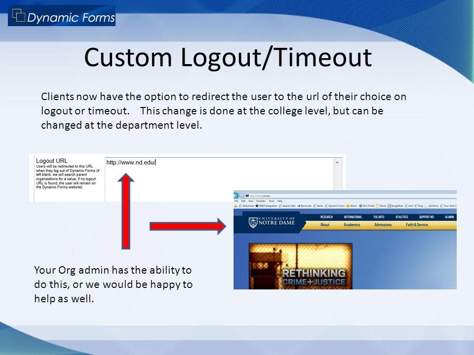 Custom Logout/Timeout