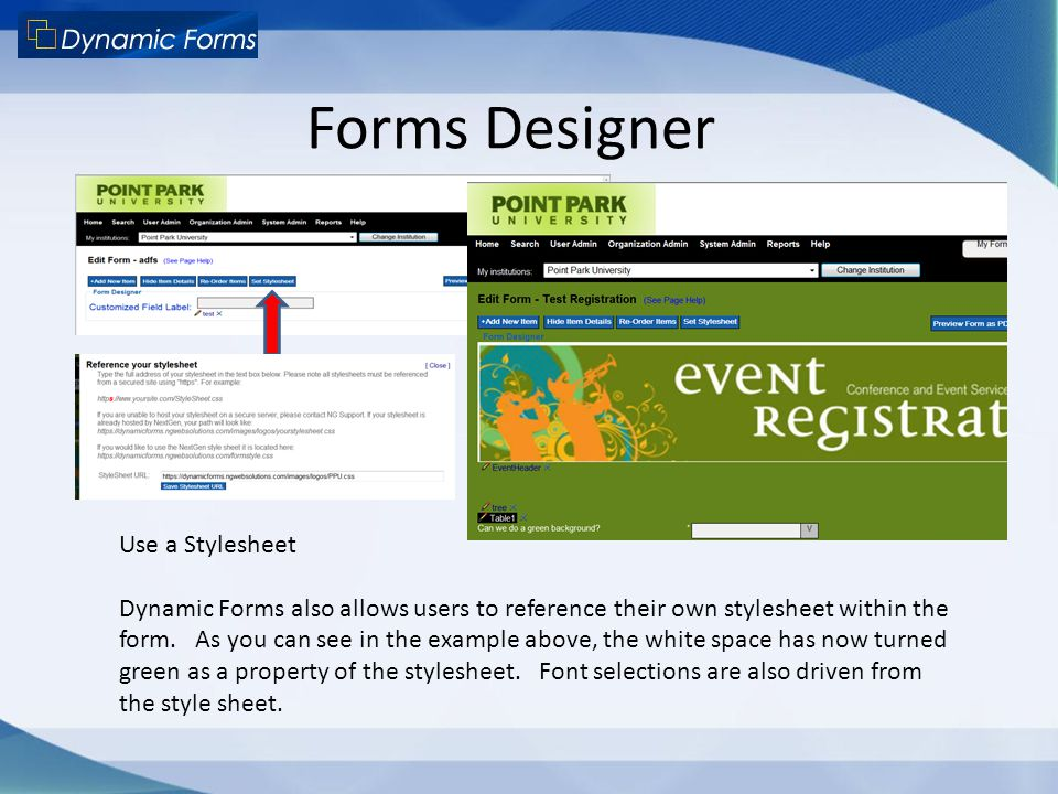 Forms Designer Use a Stylesheet