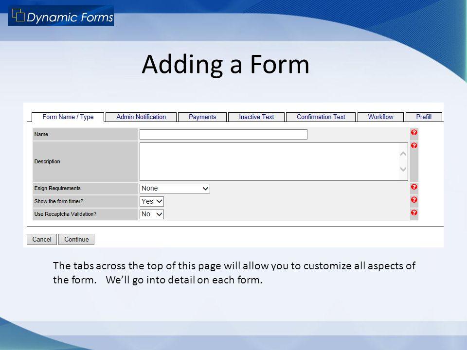 Adding a Form