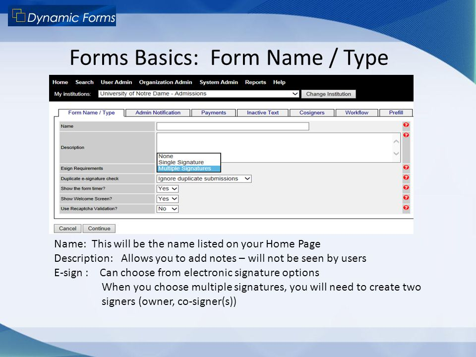 Forms Basics: Form Name / Type
