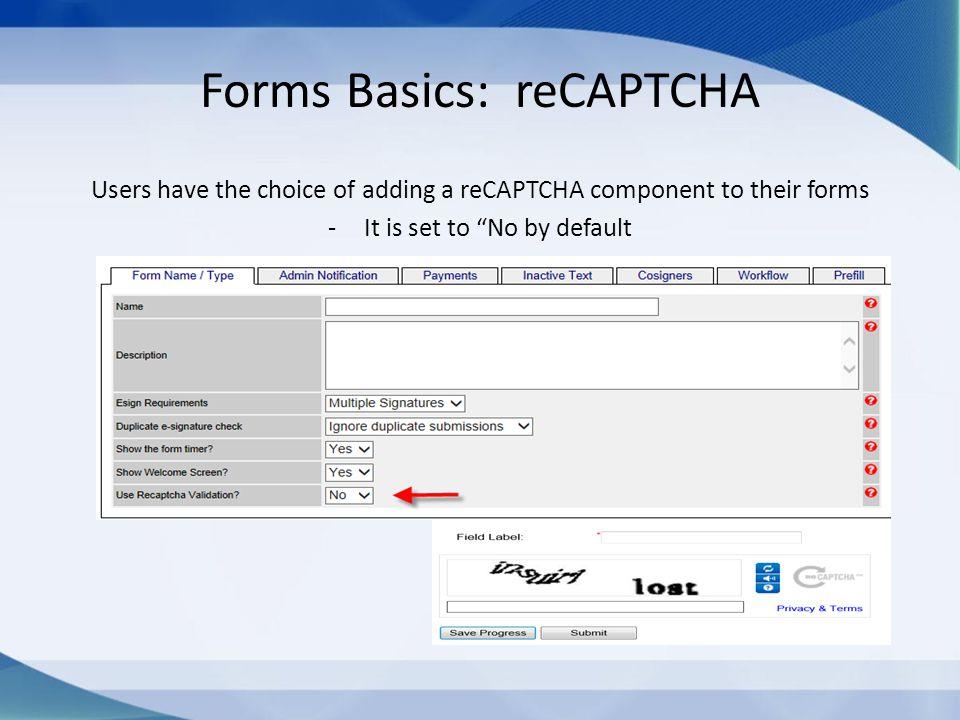 Forms Basics: reCAPTCHA