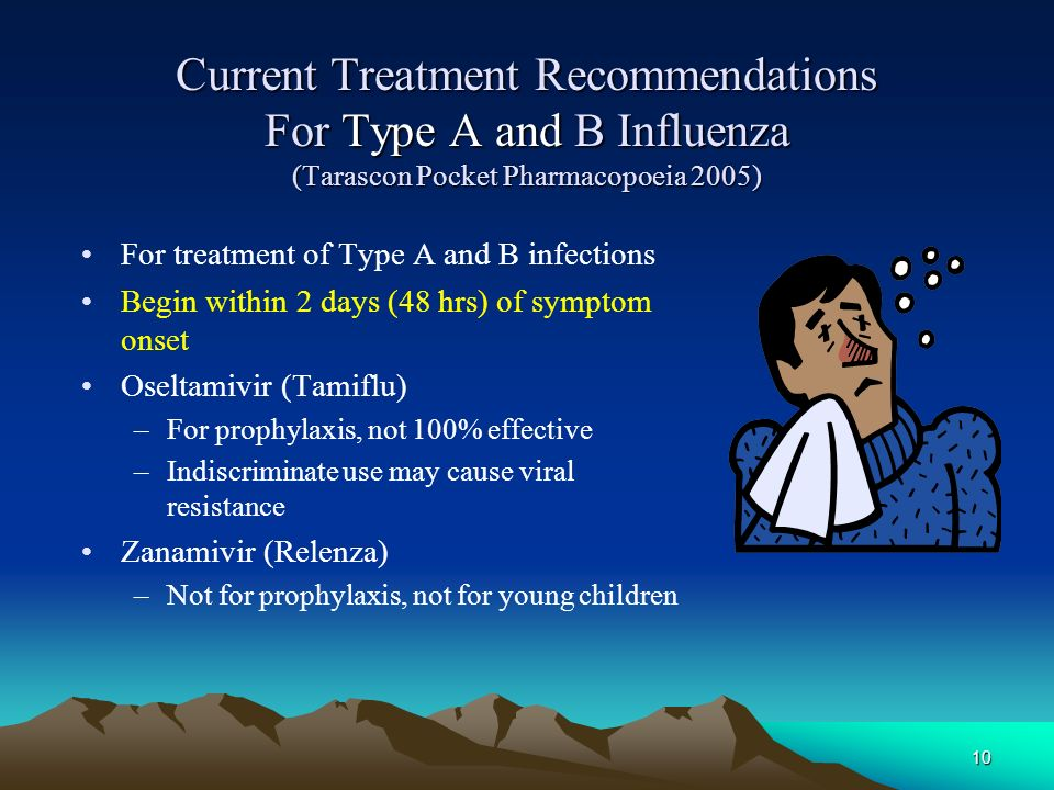 Current Treatment Recommendations For Type A and B Influenza (Tarascon Pocket Pharmacopoeia 2005)