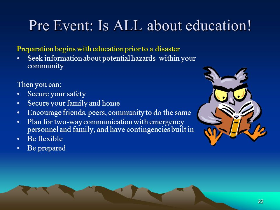 Pre Event: Is ALL about education!