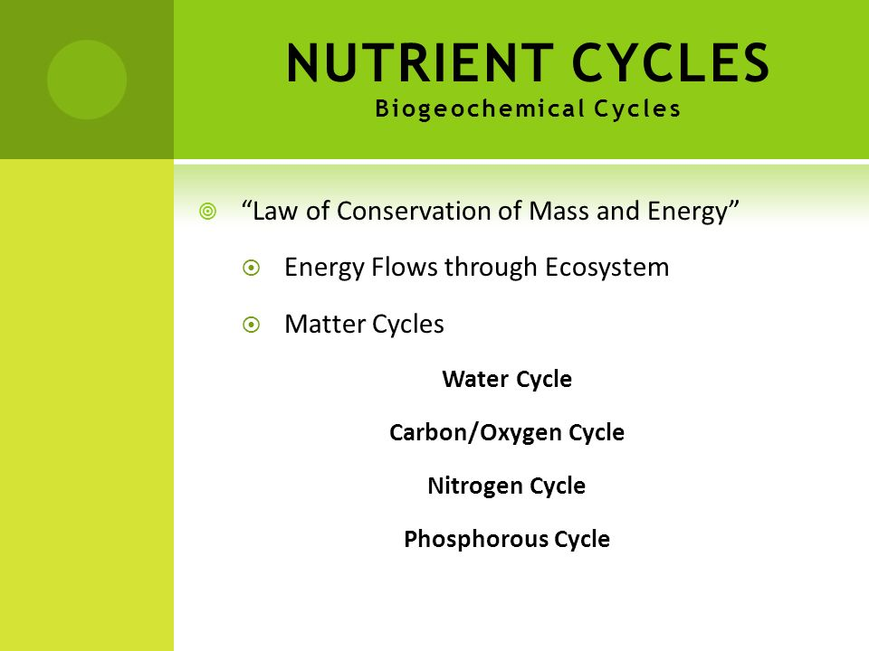 NUTRIENT CYCLES Biogeochemical Cycles