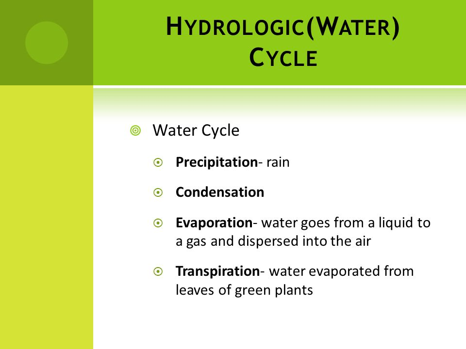 Hydrologic(Water) Cycle