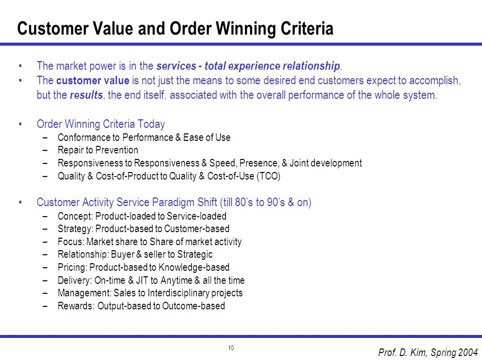 Customer Value and Order Winning Criteria