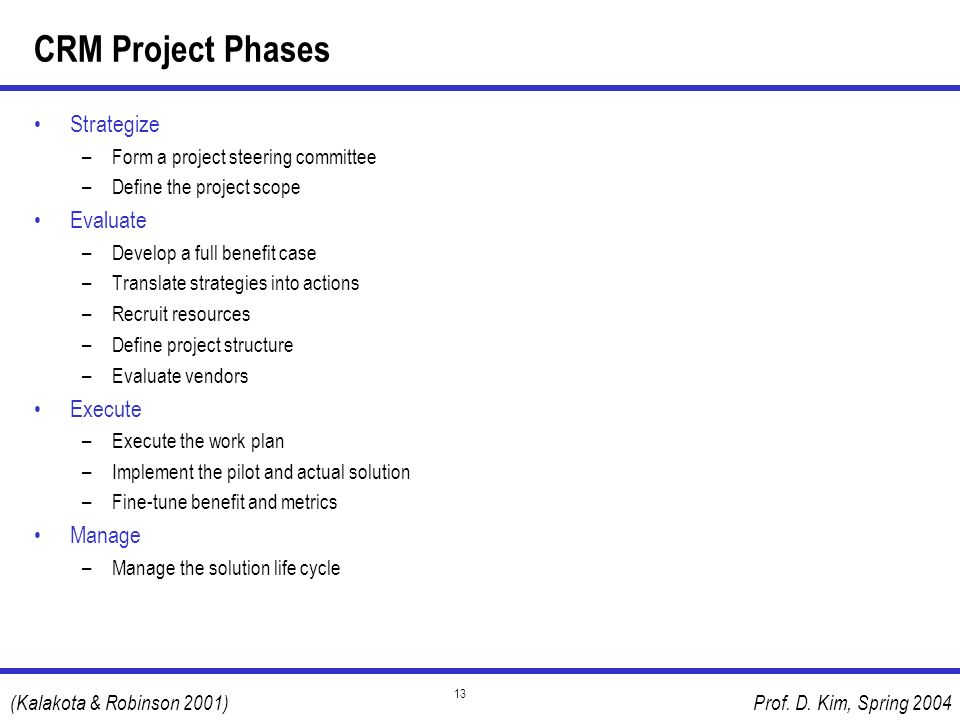 CRM Project Phases Strategize Evaluate Execute Manage