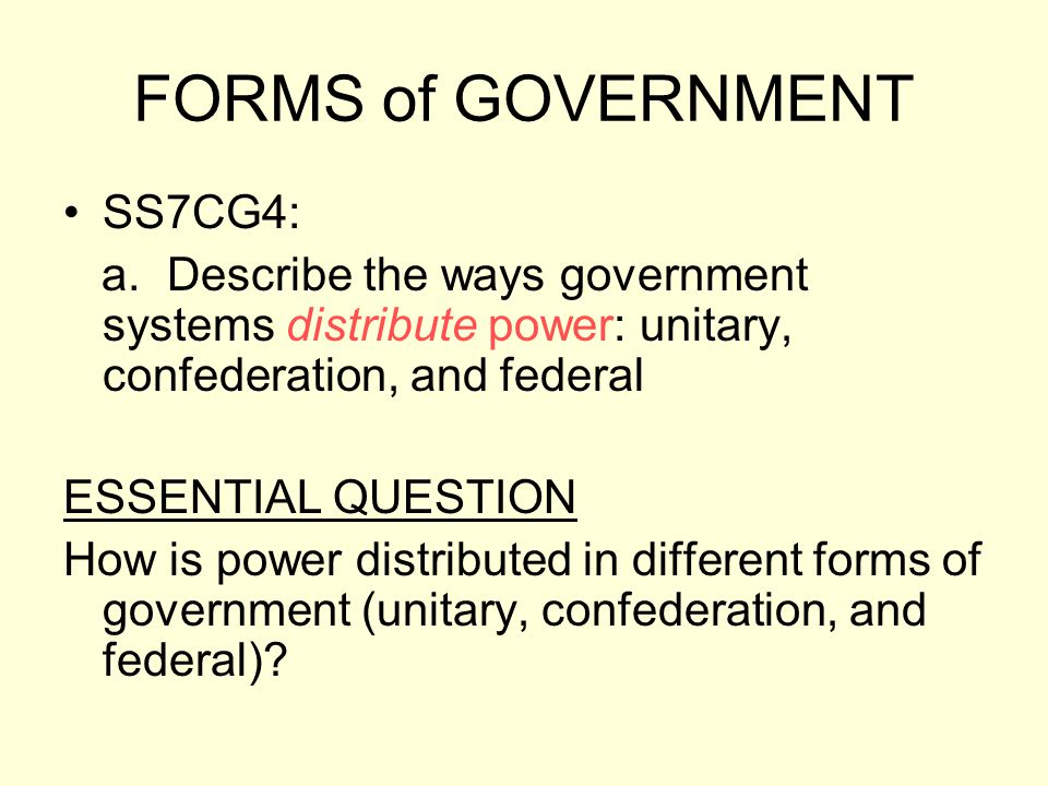 FORMS of GOVERNMENT SS7CG4: