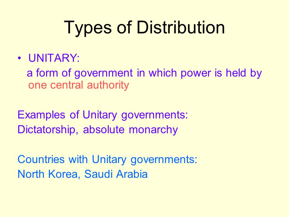 Types of Distribution UNITARY:
