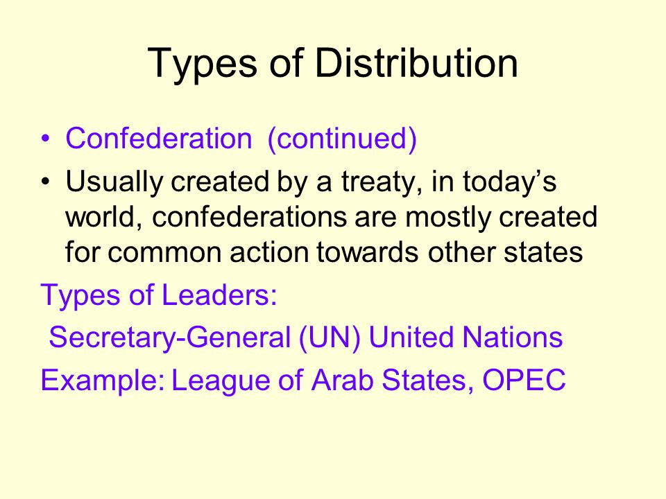 Types of Distribution Confederation (continued)