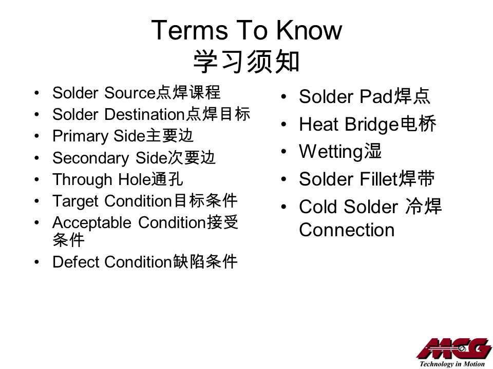Terms To Know 学习须知 Solder Pad焊点 Heat Bridge电桥 Wetting湿 Solder Fillet焊带