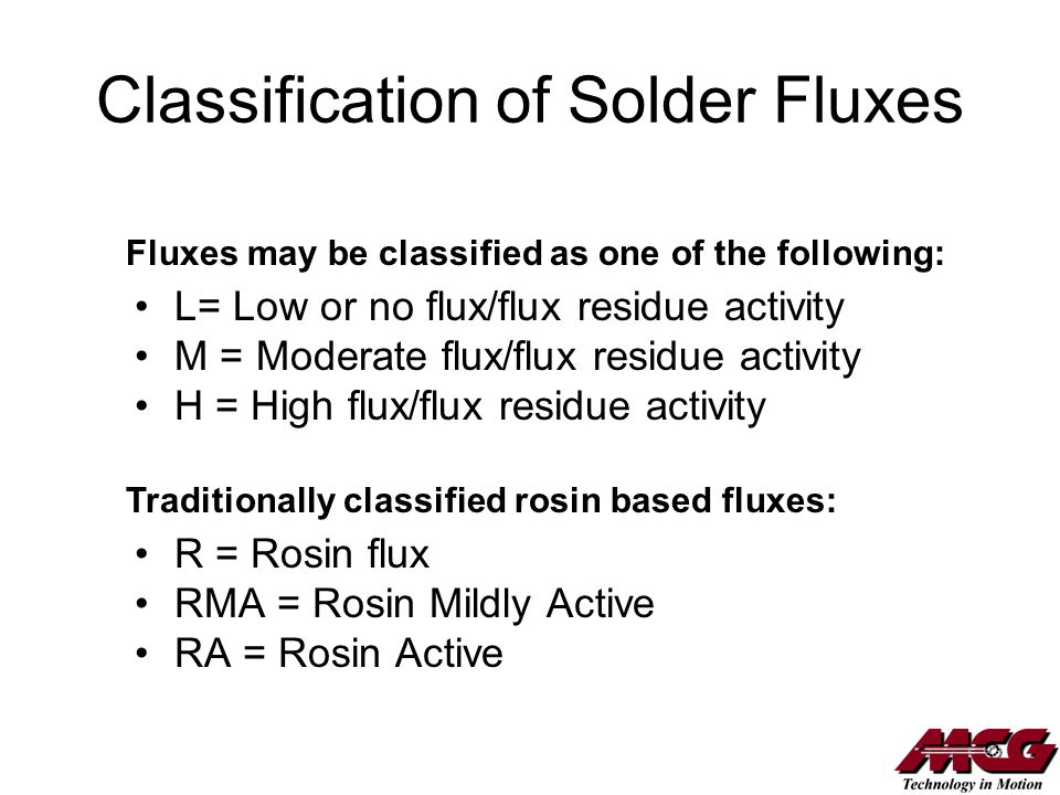 Classification of Solder Fluxes