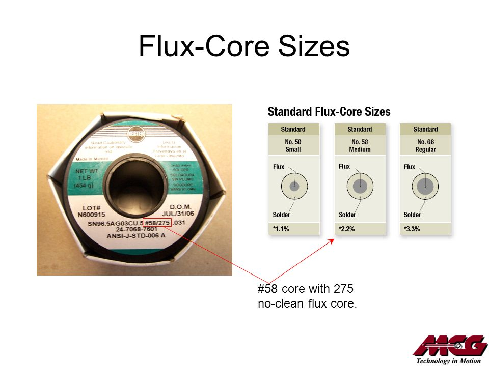 Flux-Core Sizes #58 core with 275 no-clean flux core.