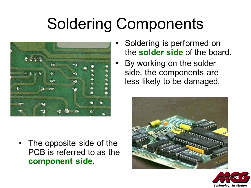 Soldering Components Soldering is performed on the solder side of the board.