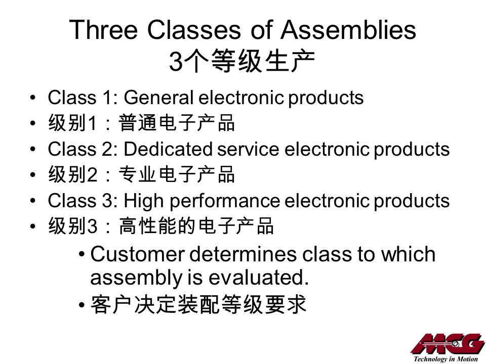 Three Classes of Assemblies 3个等级生产