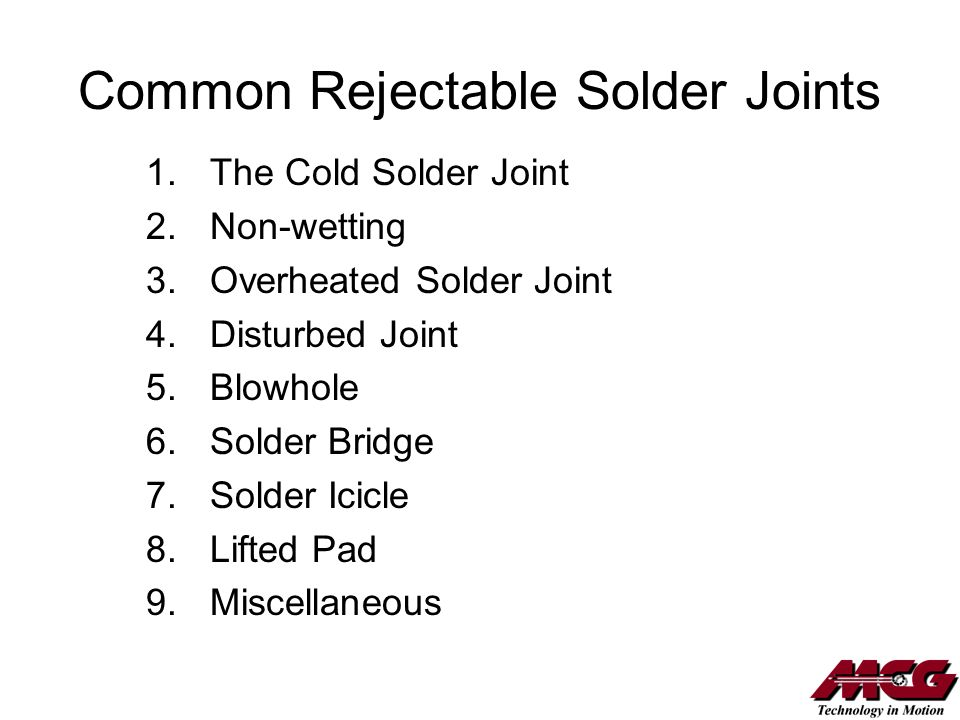 Common Rejectable Solder Joints