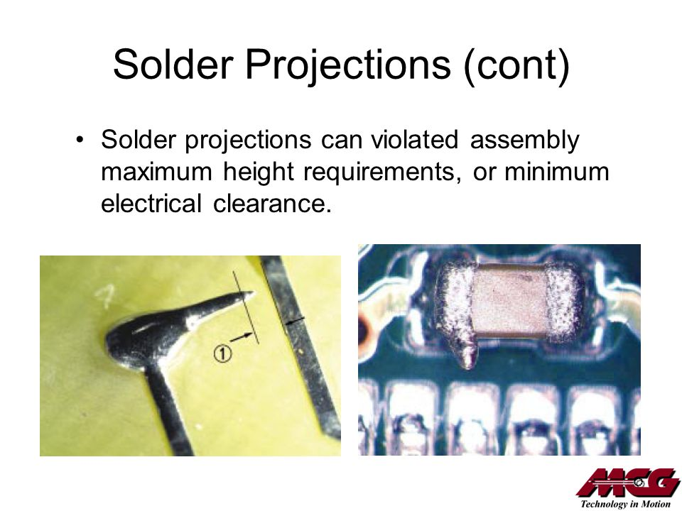 Solder Projections (cont)