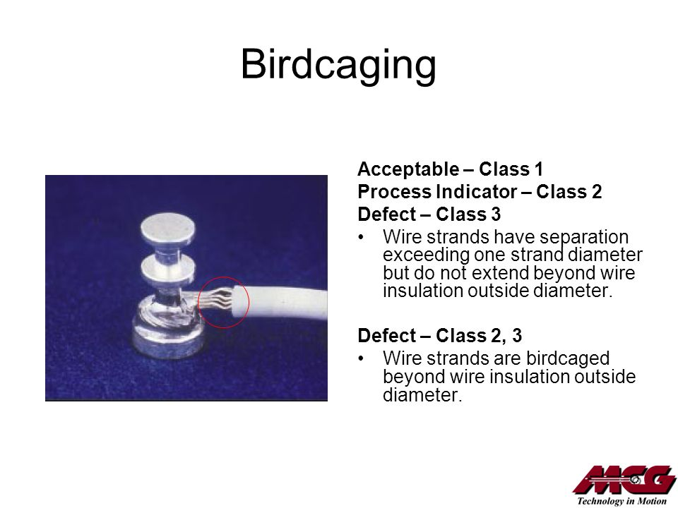 Birdcaging Acceptable – Class 1 Process Indicator – Class 2