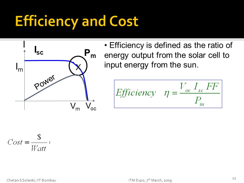 Efficiency and Cost I Isc Pm Im