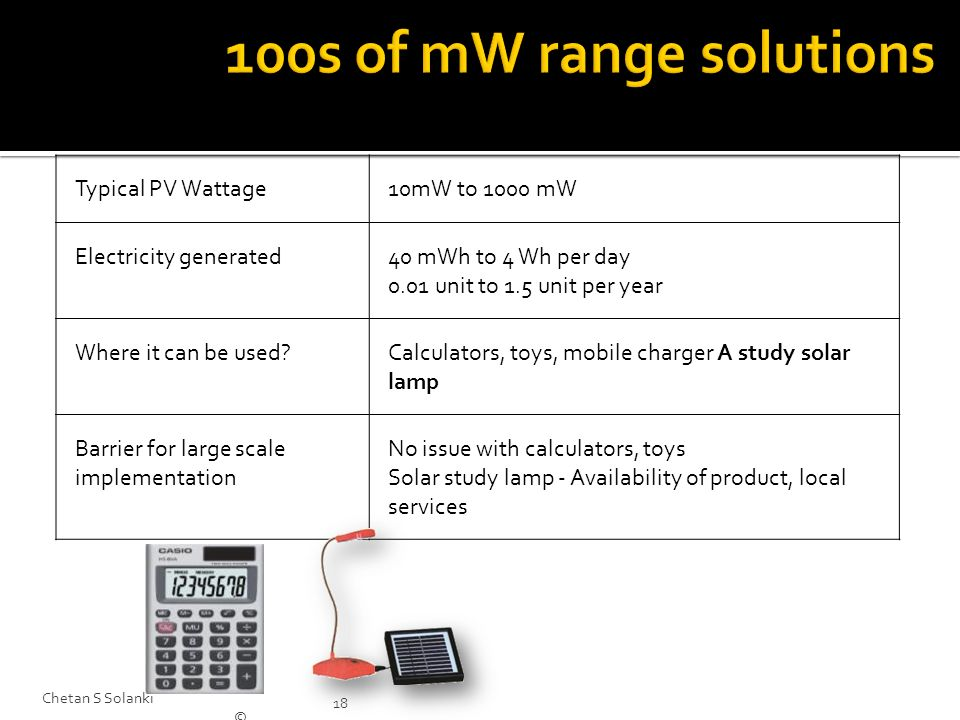 100s of mW range solutions Typical PV Wattage 10mW to 1000 mW