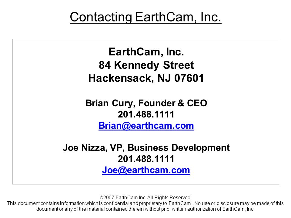 Contacting EarthCam, Inc.